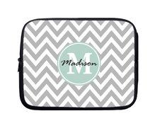 Laptop Sleeve, Laptop Case, Laptop Bag Gray Chevron Mint Monogram