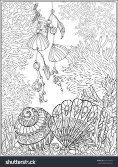 coral, fish and sea shells coloring page for adults : Shutterstock 462750493