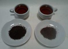 Teh hitam dari Kebun Teh Gunung Gambir, PTPN XII.  Kebun ini sudah ada sejak jaman Belanda. Mayoritas tehnya diekspor. Kiri: sepertinya grade BP, yg kanan lebih rendah (ada campuran batang). Keduanya teh hitam CTC