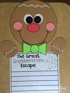 If you are looking of r great gingerbread writing craft, this is it! This gingerbread writing activity is perfect for kindergarten and first grade! Gingerbread Man Activities, Christmas Activities, Gingerbread Men, Gingerbread Stories, Christmas Crafts, Kindergarten Writing, Kindergarten Activities, Writing Activities, Preschool
