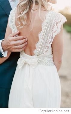 Lace and a bow on my wedding dress