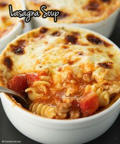 Lasagna Soup, perfect for a cool fall day, with warm garlic bread & a crisp salad