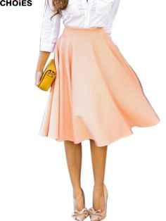 Available Now on our store:  Peach Pink Pleats... Check it out here ! http://mamirsexpress.com/products/peach-pink-pleats-a-line-saias-femininas-flared-high-waist-midi-skater-skirt-s-xl?utm_campaign=social_autopilot&utm_source=pin&utm_medium=pin