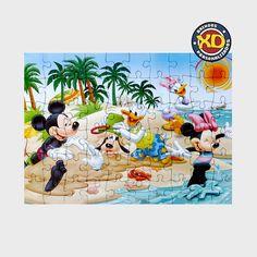 Quebra-cabeça inspirado nos personagens da Disney Mickey, Minnie, Donald, Margarida e Pateta na praia Tamanho:27 X 19cm Peças:60