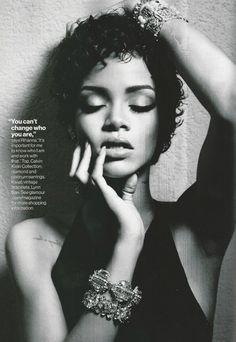 RIHANNA BLACK AND WHITE LOOKS EDITORIAL PHOTOSHOOT GLAMOUR MAGAZINE BARBADOS SHORT CURLY HAIR…