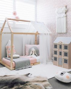 sweet girls room. Don't love the wall, but the colors of the bedding are so cute