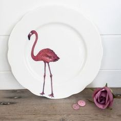 These fun and playful illustrated Pink Flamingo Plates are the perfect edition to your home this Christmas. As seen at Stylist Live. Flamingo Decor, Pink Flamingos, Flamingo Illustration, Pottery Plates, Christmas Gifts For Her, Interior Accessories, Decorative Plates, Interior Decorating, Arts And Crafts