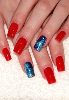 red nails & blue foil