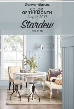 Muted and barely tinted, our 2017 Color of the Month for August pairs elegantly with soft neutrals and tonal dusty blues. Natural woods and whites contrast perfectly with its grayish, blue hue. You can even use Stardew SW 9138 to give a colorful charge to interiors (it works great if you want to incorporate a beach-house aesthetic year-round). Happy painting!