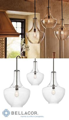 This one-light pendant from the Everly collection is inspired by a decorative blown glass container. This generous, bowed clear glass fixture features an Olde Bronze finish and looks distinctive with the optional Vintage Squirrel Cage Filament bulb that leaves an impact. http://www.bellacor.com/productdetail/kichler-42046oz-everly-olde-bronze-one-light-pendant-700861.htm?partid=social_pinterestad_700861