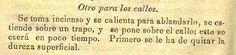 Quitar los callos de los pies. Nuevo calendario curioso : arreglado al meridiano de Puebla para el año de 1874. (R)/529.4 CAL.cu.874. Colección de Calendarios Mexicanos del Siglo XIX. Fondo Antiguo. Biblioteca del Instituto Mora, México. Remove corns from the feet. New calendar curious: arranged to the meridian of Puebla for the year 1874. (R) /529.4 CAL.cu.874. Collection of Mexican Calendars of the 19th Century. Old Background. Library of the Mora Institute, Mexico.
