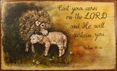 """""""Cast your cares on the LORD and He will sustain you"""" (Ps. 55:22).   Acrylic painting on wood. Unique. The inscription was painted by hand – no stencils. """"Aruncă-ţi grijile asupra Domnului şi El te va sprijini"""" (Ps. 55:22)  Tablou unicat, pictat pe lemn, în culori acrilice. Inscripţia a fost pictată cu mâna liberă, fără şablon.  #woodpainting #picturapelemn #lamb #sheep #inspirational #encouragement #acrylics #acrilice #psalms #psalmi #handmade #BrindusaArt Acrylic Paint On Wood, Painting On Wood, Cast Your Cares, Love Images, Stencils, Shabby Chic, Lord, Cottage"""