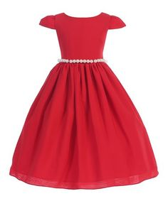 Love this Red Pearl Cap Sleeve A-Line Dress - Toddler & Girls on #zulily! #zulilyfinds