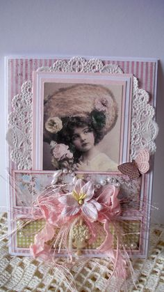 I've been trying to use up my scraps from different projects so the cards are all starting to look alike. Cute Cards, Diy Cards, Shabby Chic Cards, Beautiful Handmade Cards, Heart Cards, Artist Trading Cards, Vintage Crafts, Scrapbooking, Card Tags