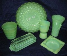 Green Fire King Jadeite Depression Glass - Bubble Bowl, Vase, Egg Cup, Jardiniere, Butter Dish and Ash Tray.