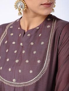 Purple Zari-embroidered Cotton Silk Kurta order contact my whatsapp number 7874133176 Salwar Designs, Silk Kurti Designs, Kurta Designs Women, Blouse Designs, Embroidery Online, Embroidery Suits, Kurti Embroidery, Designer Kurtis, Costumes Punjabi