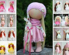Amor muñeca tela muñeca Tilda muñeca color rubio rojo rosa