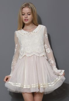 Sweet Love Peter Pan Collar Tulle Dress