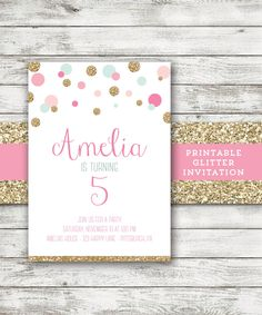 Mint Gold Pink Invitation Polka Dot Girl Birthday Invitation Glitter Invite by EmAndBeaPaperie on Etsy https://www.etsy.com/listing/208180359/mint-gold-pink-invitation-polka-dot-girl
