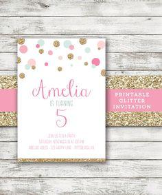 Mint Gold Pink Invitation Polka Dot Girl Birthday Invitation Glitter Invite by EmAndBeaPaperie on Etsy https://www.etsy.com/listing/208180359/mint-gold-pink-invitation-polka-dot-girl