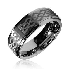 Bling Jewelry Celtic Knot Mens Tungsten Carbide Ring 8mm Size 11 5