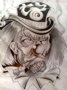 Desenho Realista palhaço tattoo