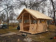 Backyard Projects, Backyard Patio, Diy Log Cabin, Cool Sheds, Hand Hewn Beams, Wooden Gazebo, Wendy House, Landscape Structure, Tree House Designs
