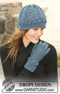 """DROPS Hat and gloves in """"Silke-Alpaca"""" with cables and bubbles and crocheted edge. ~ DROPS Design"""