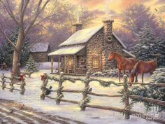 Stone House Print featuring the painting Marianne's Winter Hideaway by Chuck Pinson