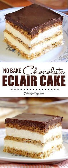 No Bake Chocolate Eclair Icebox Cake Cakescottage Recipe Eclairs Dessert Easy Desserts Icebox Cake Recipes