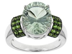 3.78ct Oval Brazilian Prasiolite With .47ctw Round Russian Chrome Diopside Sterling Silver Ring