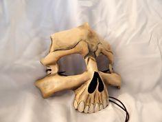 Painted Bone Leather Skull Half Masks by GriffinForge on Etsy Raider Game, Half Mask, Mask Making, Raiders, Puppets, Art Dolls, Skeleton, Bones, Masks