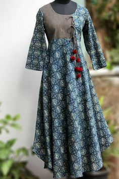 afcceb5727 Buy Maati Crafts Blue Cotton Printed Anghrakha Kurti online in India at  best price.a stunning evening dress, styled like a mughal inspired  anghrakha with ...