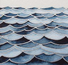 WAVES 4/ Watercolor seascape/ Original wall art/ Hand painted watercolor/ Nautical artwork