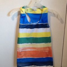 🎉HP🎉Multi color tank top with wide straps Multi color tank top with wide straps.  Size large Connection Tops Tank Tops