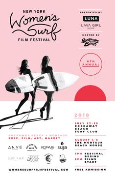 The NY Women's Surf Film Festival, a project of Lava Girl Surf, celebrates the filmmakers and female wave riders who live to surf, highlighting their sense of adventure, connection to the ocean and love for their own communities and those they discover. Film Poster Design, Event Poster Design, Creative Poster Design, Creative Posters, Graphic Design Posters, Graphic Design Inspiration, Poster Surf, Film Festival Poster, Women Poster
