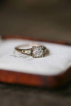 Vintage Engagement Ring, 1940's Diamond Ring, 14k Gold and Diamond Ring, Vintage Jewelry, Antique Engagement Ring, Amulette Heirloom by AmuletteJewelry on Etsy https://www.etsy.com/listing/237238359/vintage-engagement-ring-1940s-diamond