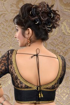 #Black #lace weaved #blouse in front boat neck-BL474