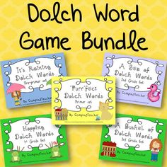 """This is a bundle of five of my products. """"It's Raining Dolch Words"""", """"Purr-fect Dolch Words"""", """"Hopping Dolch Words"""", """"A Sea of Dolch Words"""", and """"A Bushel of Dolch Words"""". There is a set for the preprimer words, primer words, 1st grade words, 2nd grade words, and 3rd grade words. Each set can be played in the same ways which makes it easier for the students to move from one set to another."""
