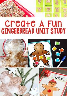 Fun Ways To Create A Gingerbread Unit Study - Activities include areas such as math, literacy, art & crafts, sensory, and science. Preschool Christmas Activities, Kindergarten Math Activities, Educational Activities For Kids, Winter Activities, Science Activities, Math Literacy, Kindergarten Christmas, Preschool Themes, Preschool Worksheets