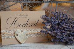"""Einladungskarten - Einladung Hochzeit Vintage Herz Kraftpapier """"Lina"""" - ein Designerstück von majalino bei DaWanda"""