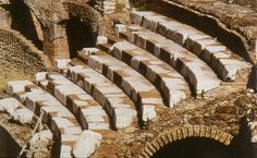 Reconstructed seating in the Roman Colosseum today.