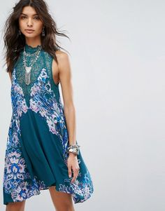 Free People Marsha Printed Slip Dress Dress by Free People, Floral printed fabric, High neck, Lace yoke, Button-keyhole back, Swing style, Loose fit falls loosely over the body,