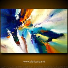 "Very large abstract painting by Dan Bunea: ""For unbelievable new beginnings 2"", 150x100cm or 60x40in, acrylics on canvas, for sale"