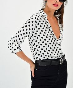 Keep your style simple and sophisticated with this classic button-up decorated with polka dots for a unique touch to any ensemble. Polka Dot Top, Button Up, Your Style, Unique, Black, Tops, Simple, Classic, Women