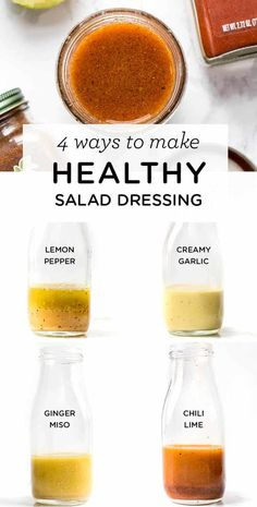 Salad Dressing: 4 Different Ways - Simply Quinoa - Looking for an easy way to jazz up your boring salads? Try one of these AMAZING and HEALTHY homemad -Healthy Salad Dressing: 4 Different Ways - Simply Quinoa - Looking for an easy way to jazz up your . Salad Recipes Healthy Lunch, Salad Recipes For Dinner, Salad Dressing Recipes, Easy Healthy Recipes, Healthy Drinks, Detox Drinks, Salad Dressings, Healthy Food, Healthy Detox