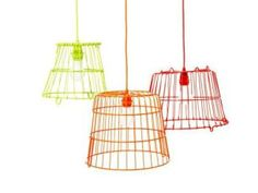 recycled baskets lamps, sprayed with neon colors