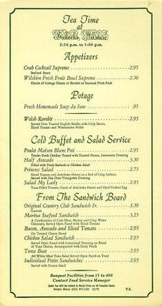 Bullocks downtown Los Angeles tea room |Bbullock s Wilshire tea room menu mid 1970 s