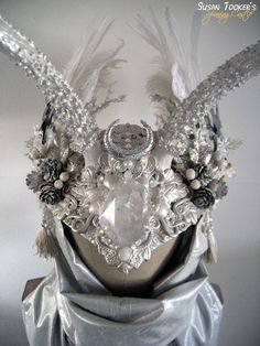 Winter Bridal Antler Headdress Celtic Ritual Crown Snow Goddess Costume Offbeat Wedding Pagan Deer ICE MAIDEN by Spinning Castle. $1150,00, via Etsy.