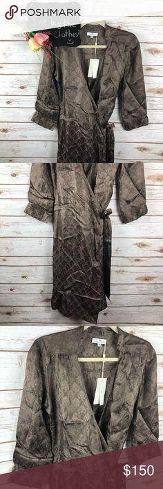 "Day Birger Et Mikkelsen brown jacquard wrap dress Day Birger Et Mikkelsen brown jacquard 3/4 sleeve viscose wrap dress. Absolutely beautiful!! NWT Size 38/8.  18"" arm pit to arm pit.  40"" length. Day Birger et Mikkelsen Dresses"